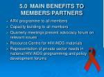 5 0 main benefits to members partners
