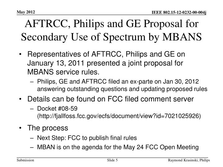 AFTRCC, Philips and GE Proposal for Secondary Use of Spectrum by MBANS