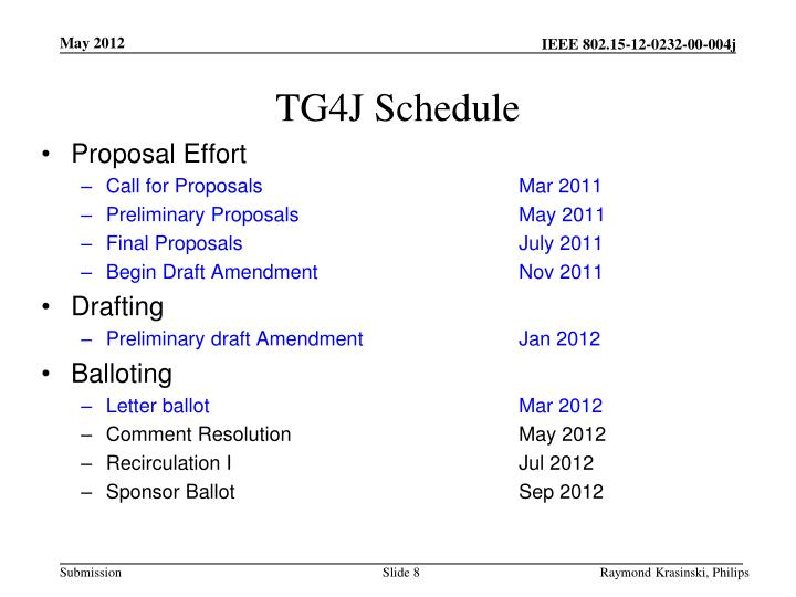 TG4J Schedule