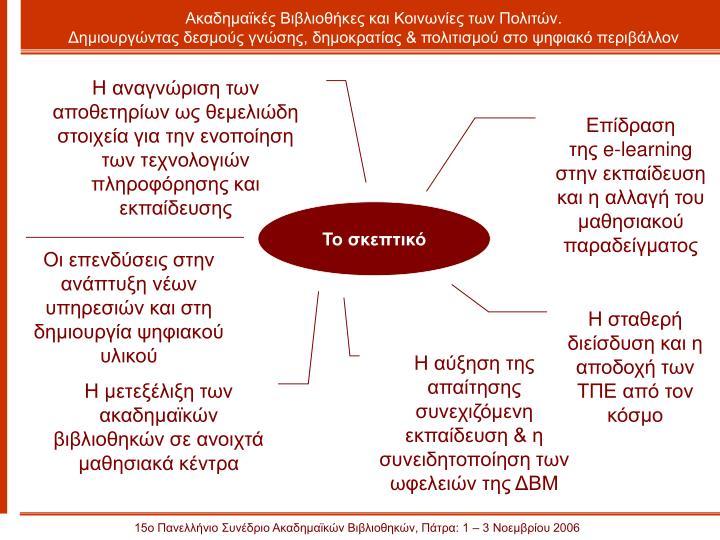 Η αναγνώριση των αποθετηρίων ως θεμελιώδη στοιχεία για την ενοποίηση των τεχνολογιών πληροφόρησης και εκπαίδευσης