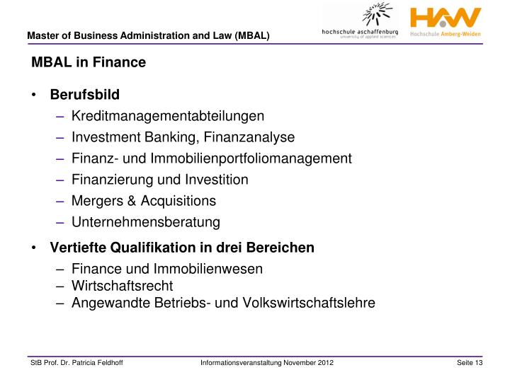MBAL in Finance