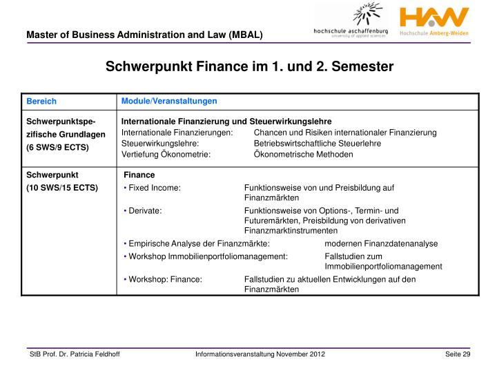 Schwerpunkt Finance im 1. und 2. Semester