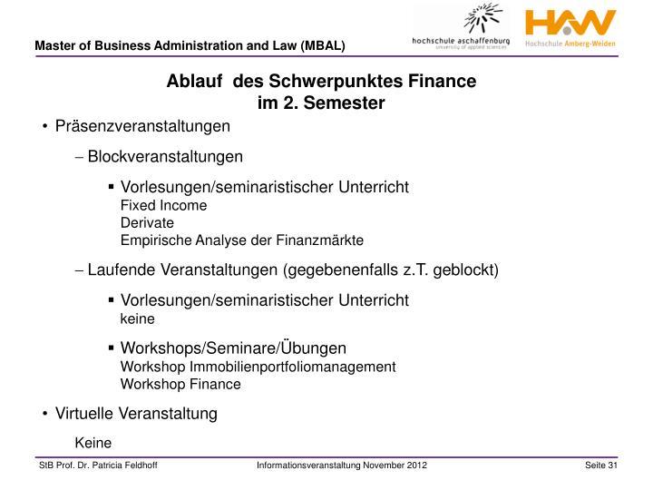 Ablauf  des Schwerpunktes Finance