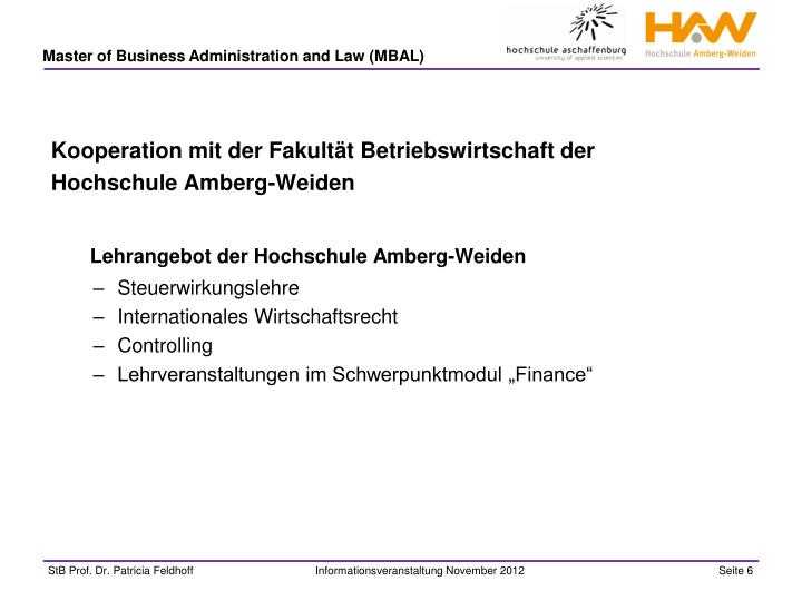Kooperation mit der Fakultät Betriebswirtschaft der Hochschule Amberg-Weiden