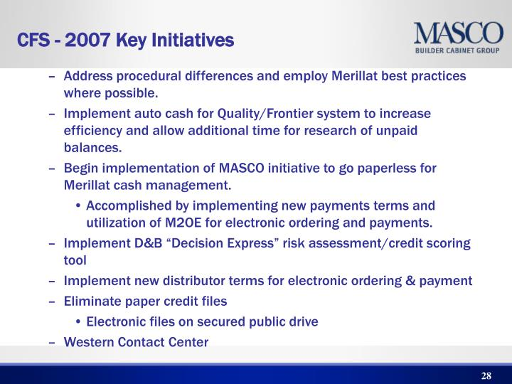 Address procedural differences and employ Merillat best practices where possible.