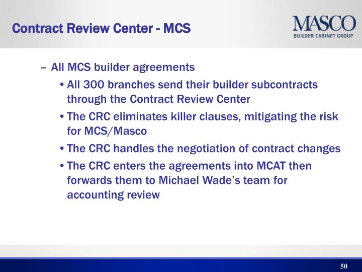 All MCS builder agreements