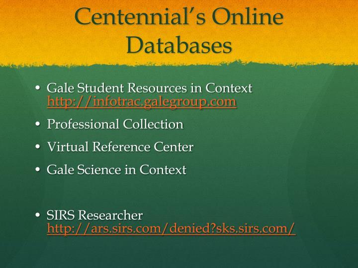 Centennial's Online Databases