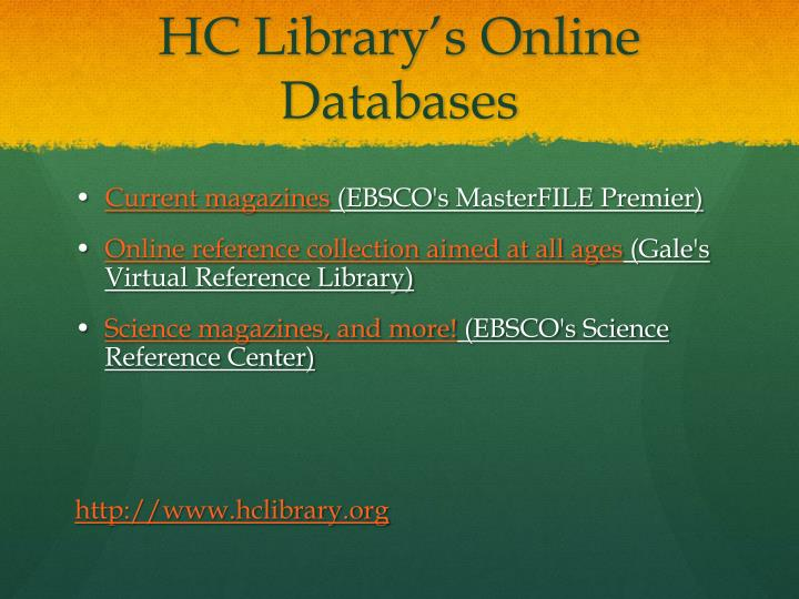 HC Library's Online Databases
