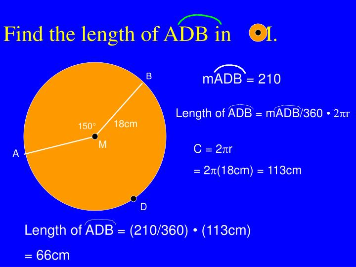 Find the length of ADB in    M.