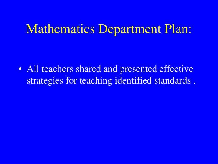 Mathematics department plan
