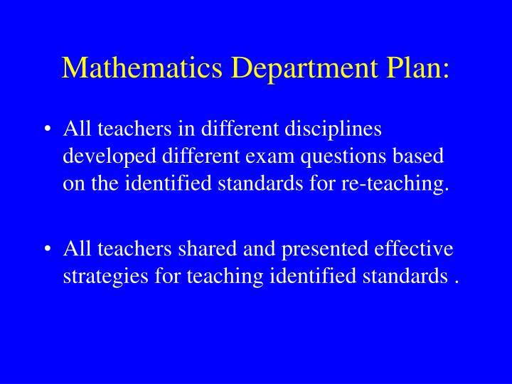 Mathematics Department Plan:
