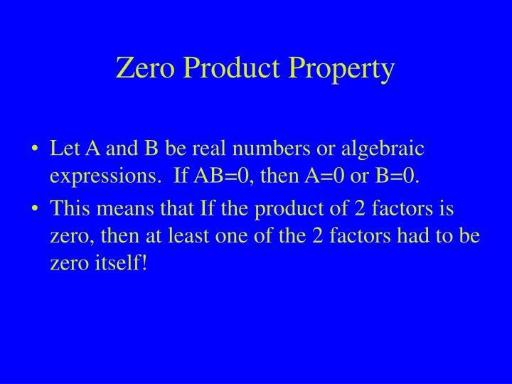 Zero Product Property