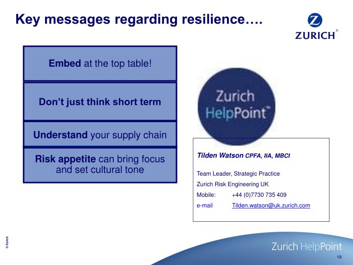 Key messages regarding resilience….