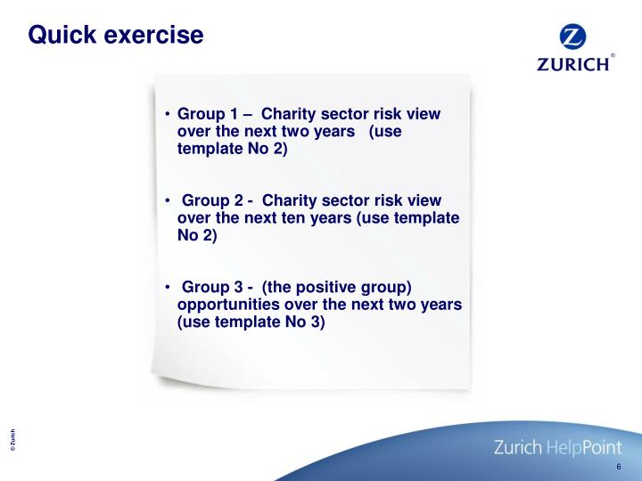 Group 1 –  Charity sector risk view over the next two years   (use template No 2)
