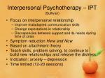 interpersonal psychotherapy ipt sullivan
