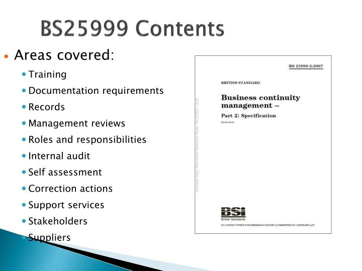 BS25999 Contents