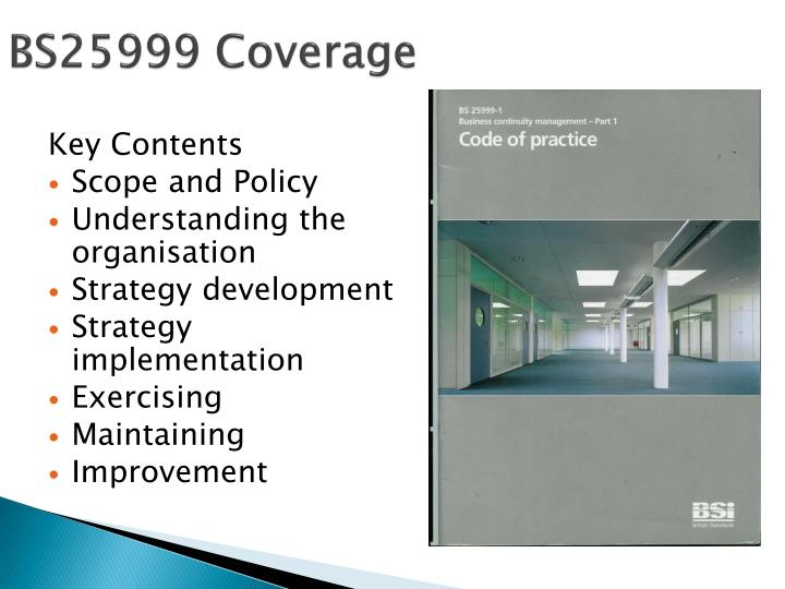 BS25999 Coverage