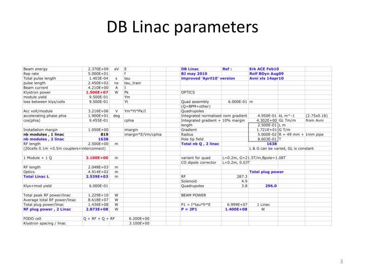 Db linac parameters
