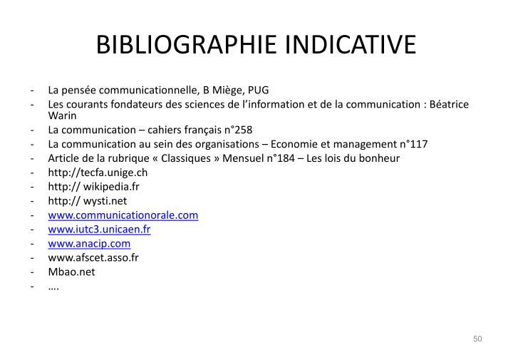 BIBLIOGRAPHIE INDICATIVE