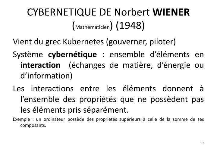 CYBERNETIQUE DE Norbert