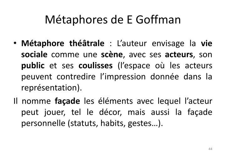 Métaphores de E Goffman