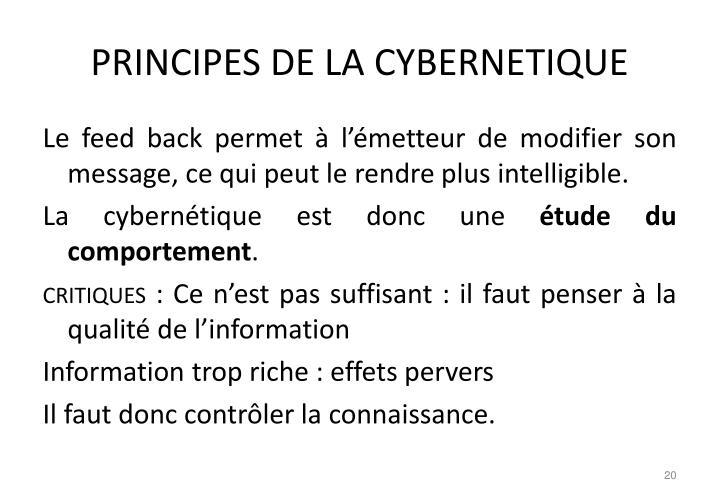 PRINCIPES DE LA CYBERNETIQUE
