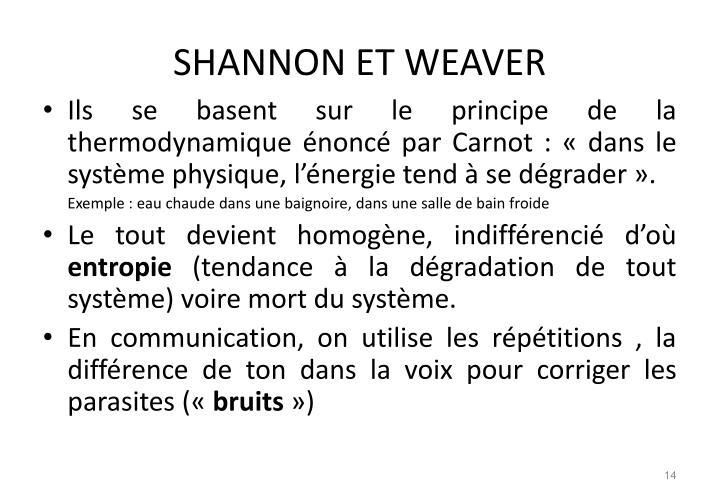 SHANNON ET WEAVER