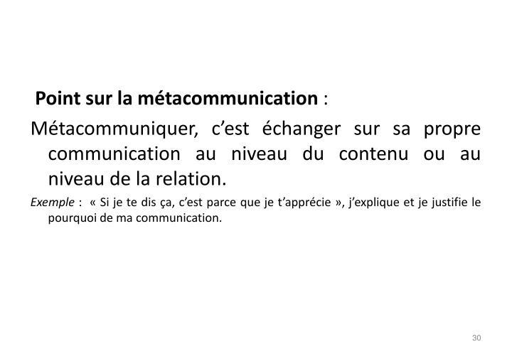 Point sur la métacommunication