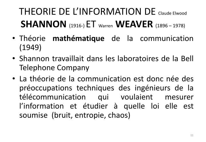 THEORIE DE L'INFORMATION DE
