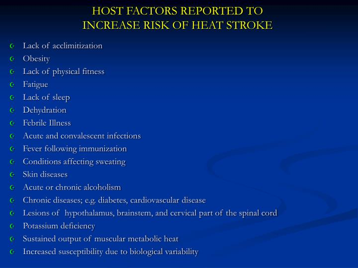 HOST FACTORS REPORTED TO