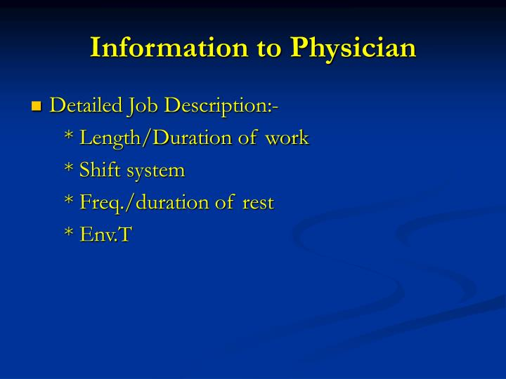 Information to Physician