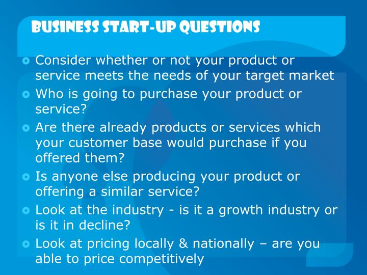 Business start up questions