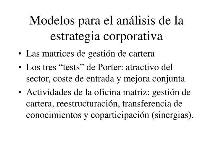 Modelos para el análisis de la estrategia corporativa