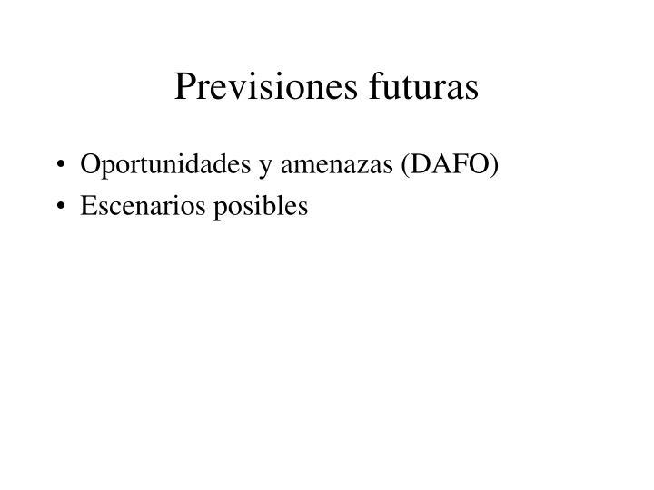 Previsiones futuras