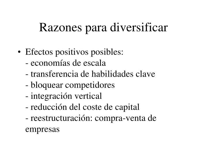Razones para diversificar