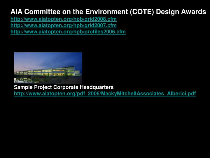 AIA Committee on the Environment (COTE) Design Awards