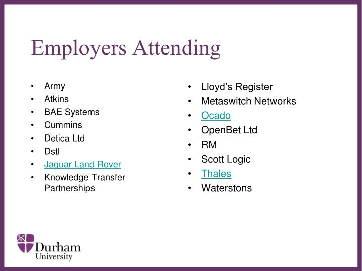 Employers Attending