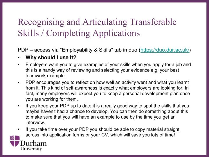 Recognising and Articulating Transferable Skills / Completing Applications