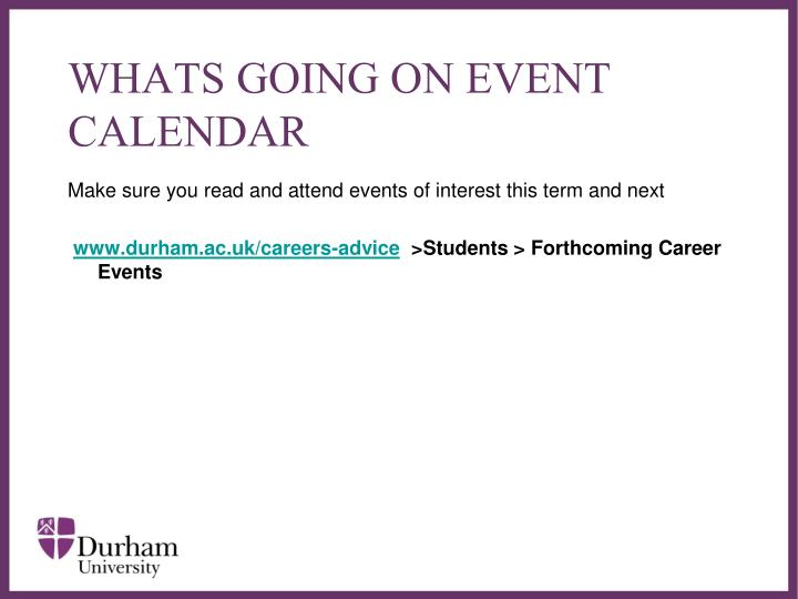 WHATS GOING ON EVENT CALENDAR