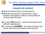 lessons we learned