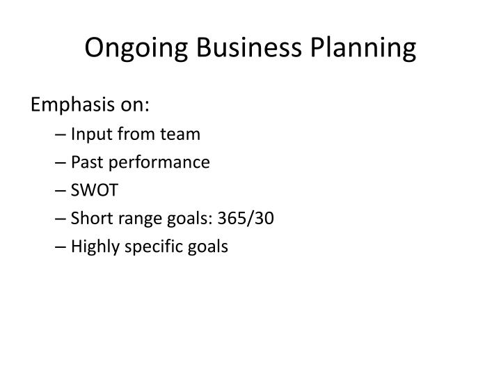 Ongoing Business Planning