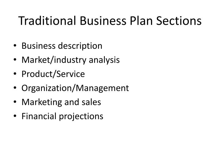 Traditional Business Plan Sections