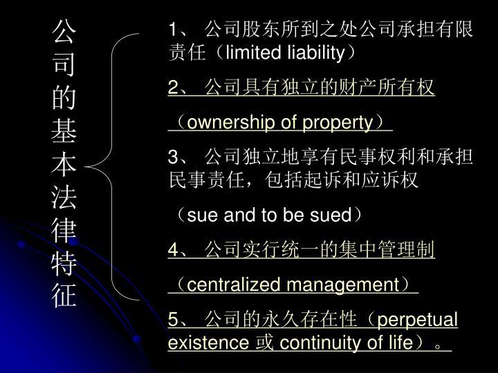 公司的基本法律特征