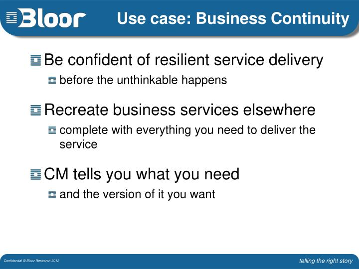 Use case: Business Continuity