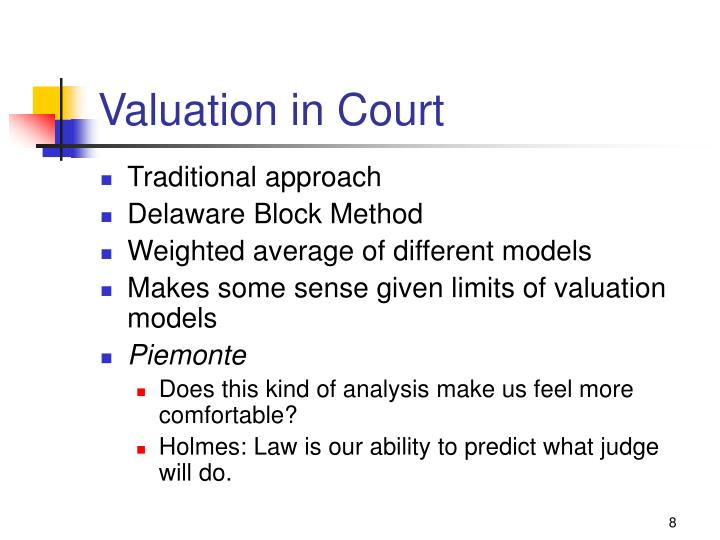 Valuation in Court