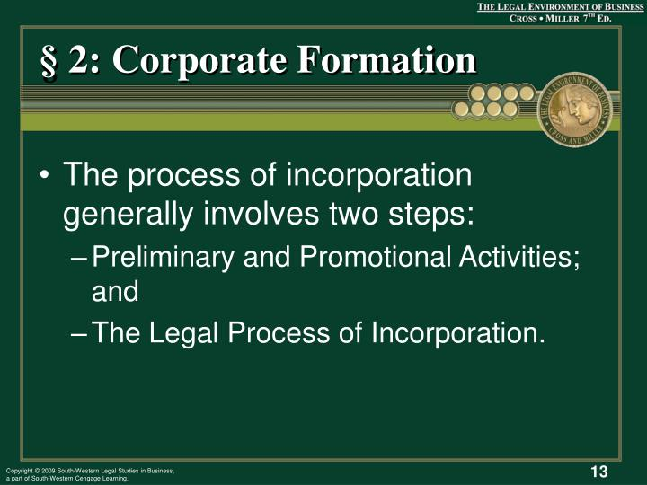 § 2: Corporate Formation