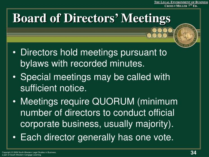 Board of Directors' Meetings