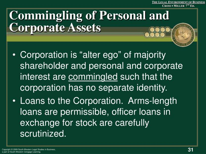 Commingling of Personal and Corporate Assets