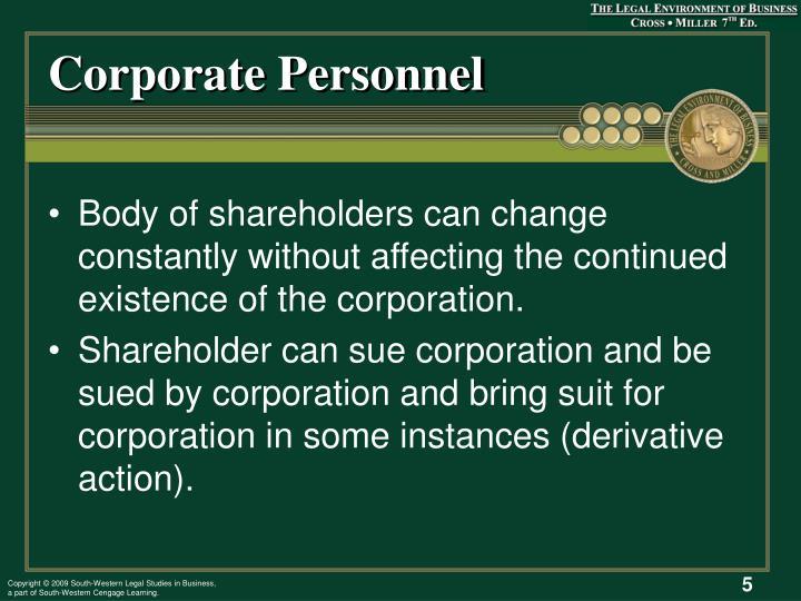 Corporate Personnel