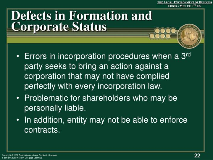 Defects in Formation and Corporate Status